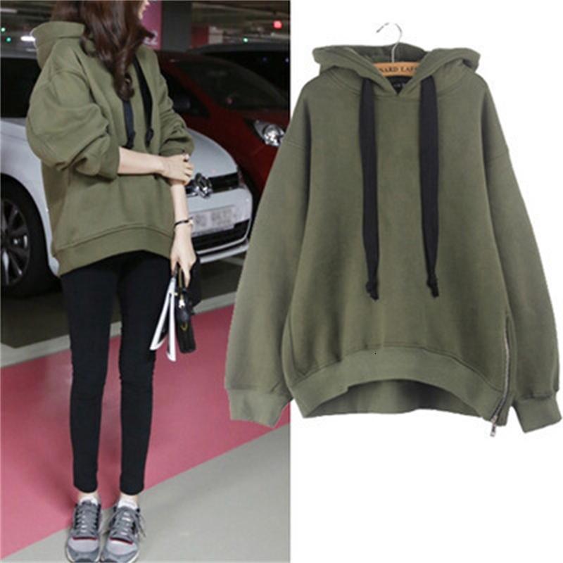 Herbst und Winter 2020 Neue koreanische Frauenkleidung mit Samthaube Lose Mode Langarm Pullover Mantel Ausführung Slim