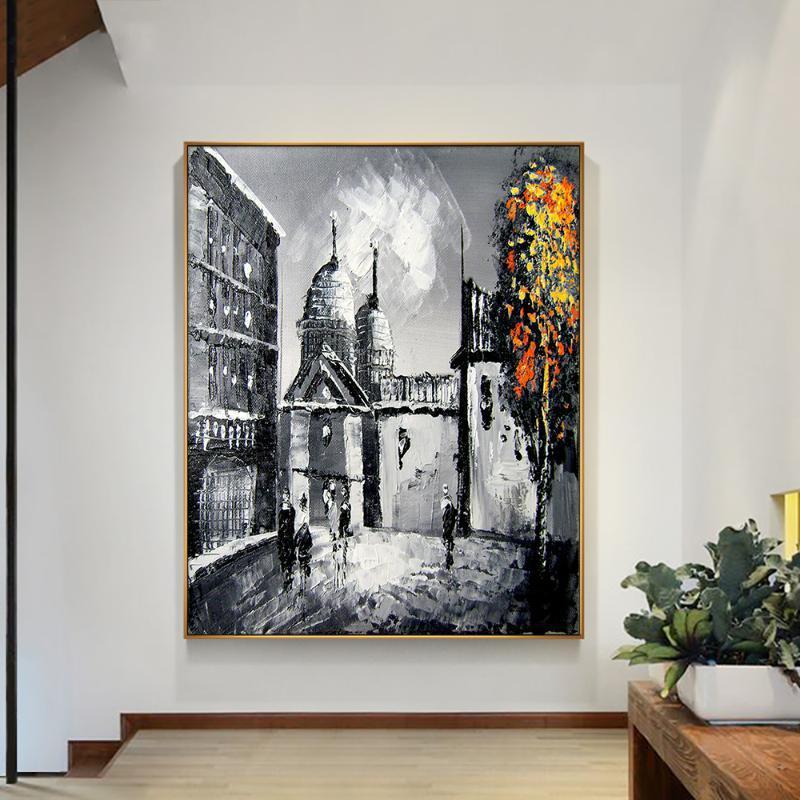 Abstrakte große gebäude malerei 100% handgemalte ölgemälde auf leinwand abstrakte figur für wohnzimmer dekoration