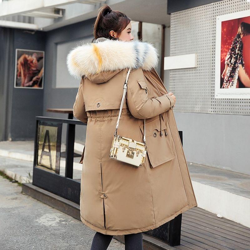 Плюс размер женщины зимняя длинная куртка куртка корейский стиль толстого пальто женские тонкие с капюшоном с меховой воротником Большие карманы вручную