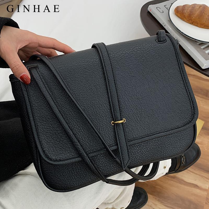 Ginhae Soft Leather Messenger Women Large Capacity Handbag All-Match Shoulder Crossbody Vintage Travel Flap Bag Blosa Q1119