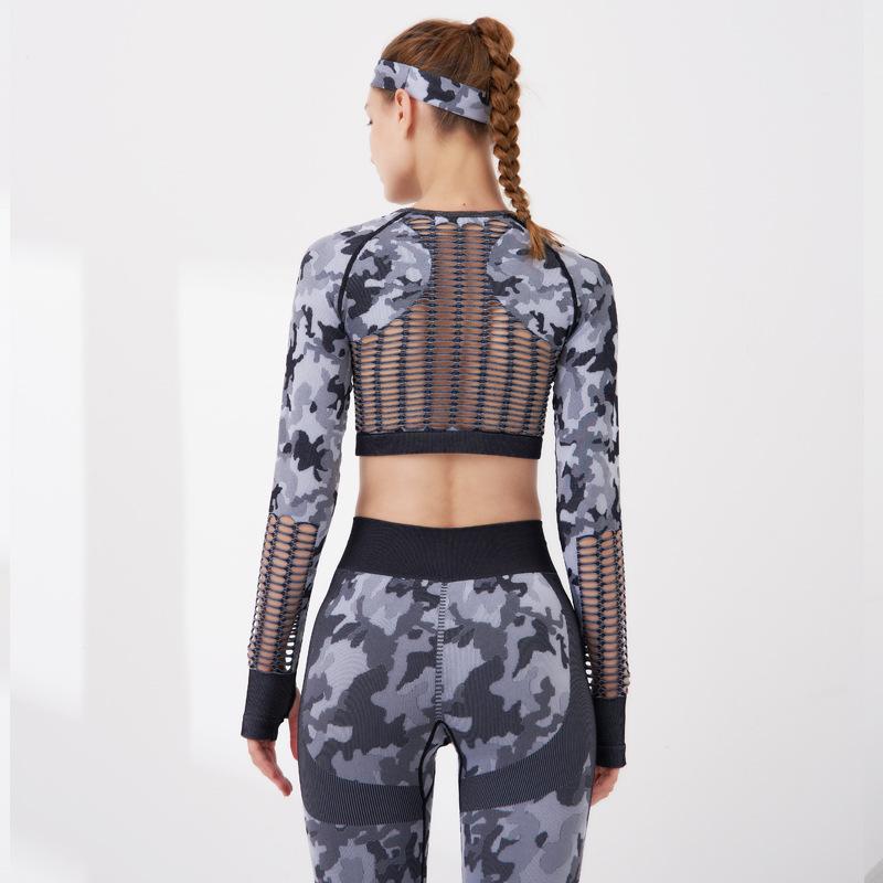 2 штуки камуфляж йога установить обратно выдолбление спортивной одежды женское фитнес Seeamless Leggings дышащий спортивный костюм с полосой волос