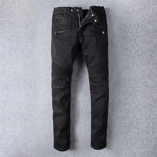 Старинные дизайнерские моды мужские джинсы черные цветные сплещенные джинсовые брюки грузовые брюки хип-хоп джинсы мужчины уличная одежда моторный байкер джинсы Homme C1123