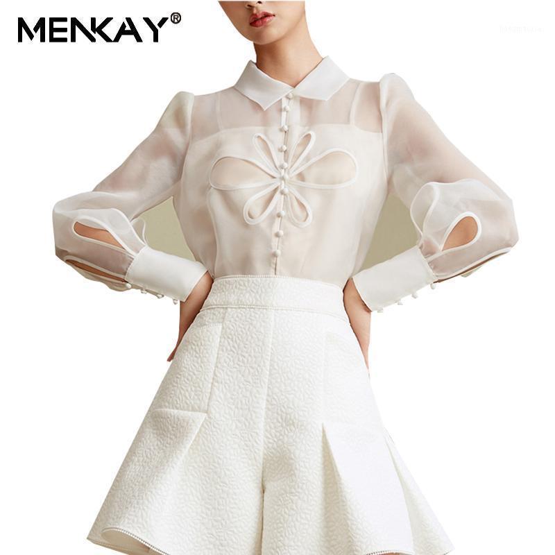 Menkay 2020 Kadınlar Oymak Beyaz Organze Bluz Uzun Kollu Sonbahar Gömlek Turn-down Yaka İki Parçalı Sling1
