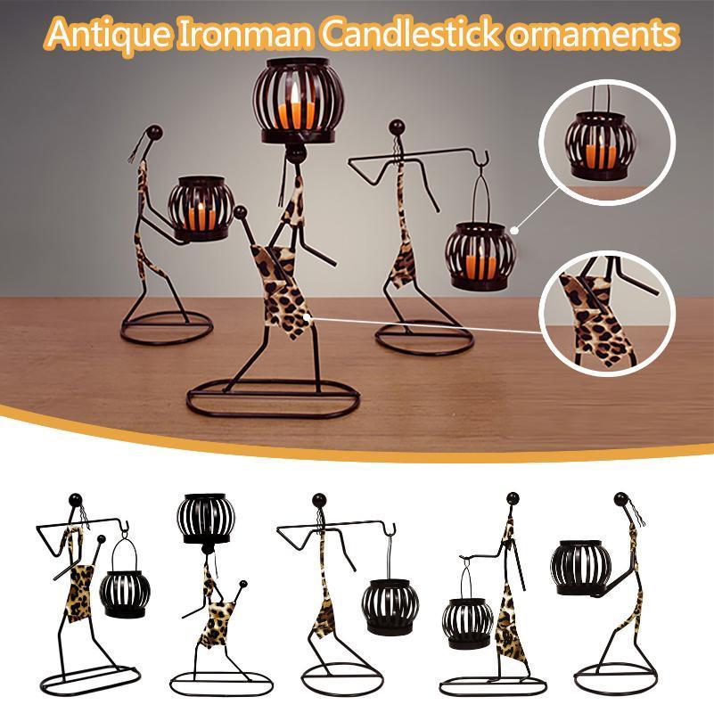 Kreative Retro Schmiedeeisernen Kerzenhalter Kreative Figuren Kerzenhalter Vintage Schmiedeeisen Kerzenständer Romantische Dekor @ 40