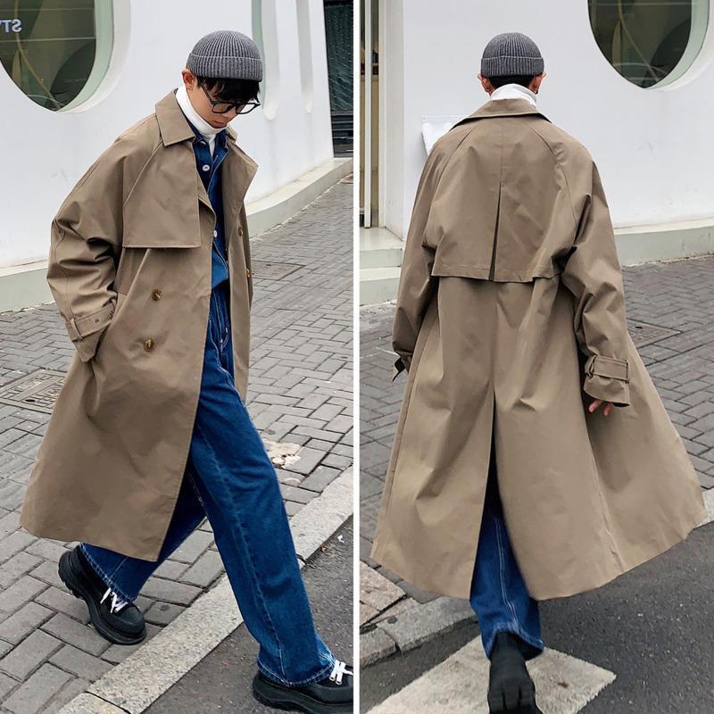 Coréen style trench massif couleur décontracté long manteau hommes de survêtement lâche automne surdimenseur jaquette hommes mens m-5xl