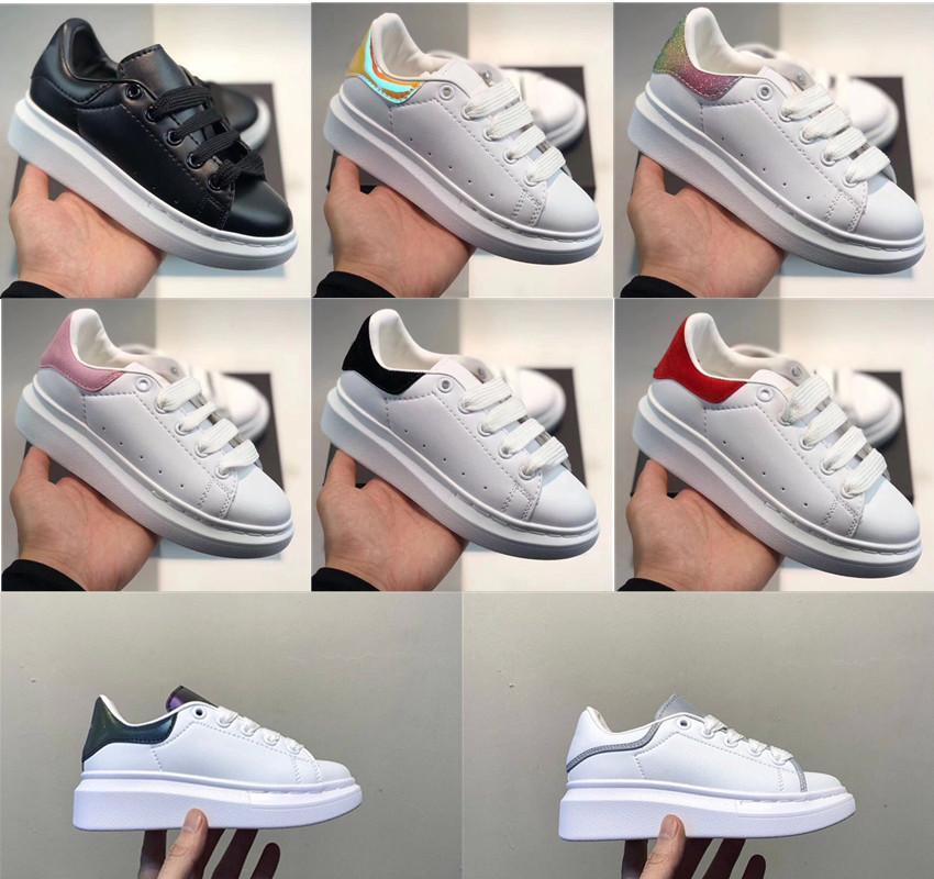 2020 جودة عالية المخملية الاطفال عارضة الأحذية بلانش et نوير منصة بيل لاري الأبيض جلد بوي فتاة أطفال حذاء رياضة الأحذية الرياضية