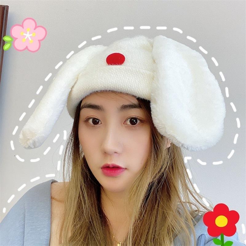 Tricoté femme automne hiver nouvelle oreilles fille laine beau bébé lapin pull chapeau deux chapeaux