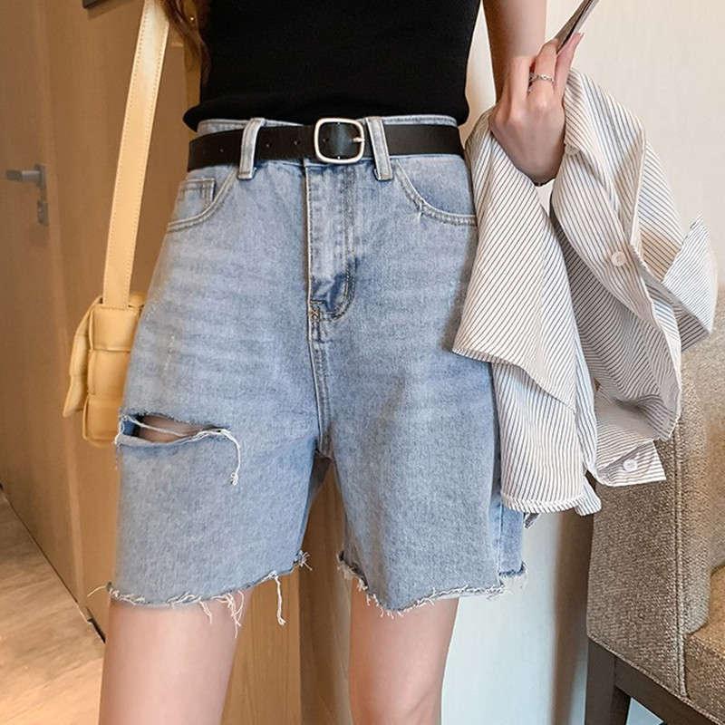 Джинсовые шорты женские 2020 новых корейских свободных брюк-линейных брюк с отверстиями и диким подолом