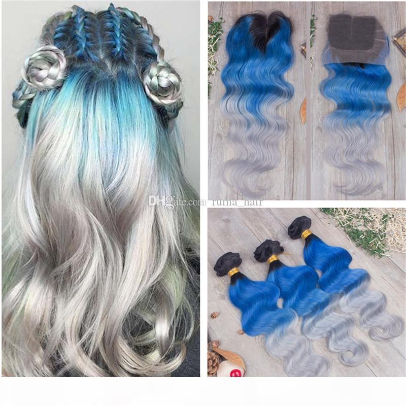 Bundles de cheveux ombre avec fermeture en dentelle 1b bleu gris gris ondes de la dentelle de dentelle avec paquets vierges brésiliens cheveux humains tisse