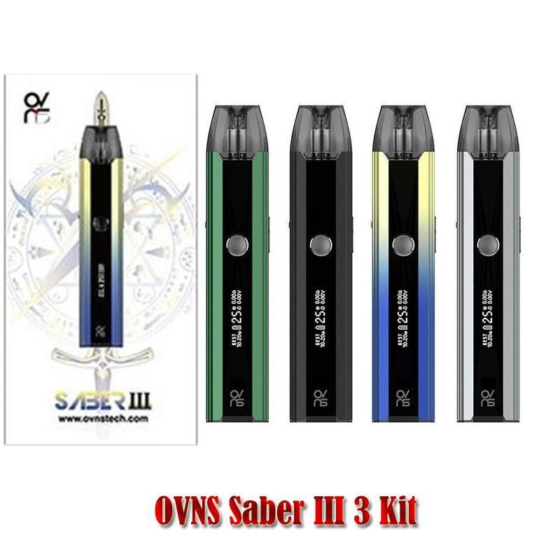 Original OVNS Saber III 3 Kit Electronic Cigarette Kits With 2 Refillable Cartridges 5-25W Airflow Adjustable Type-C Charger Pod Vape Pen