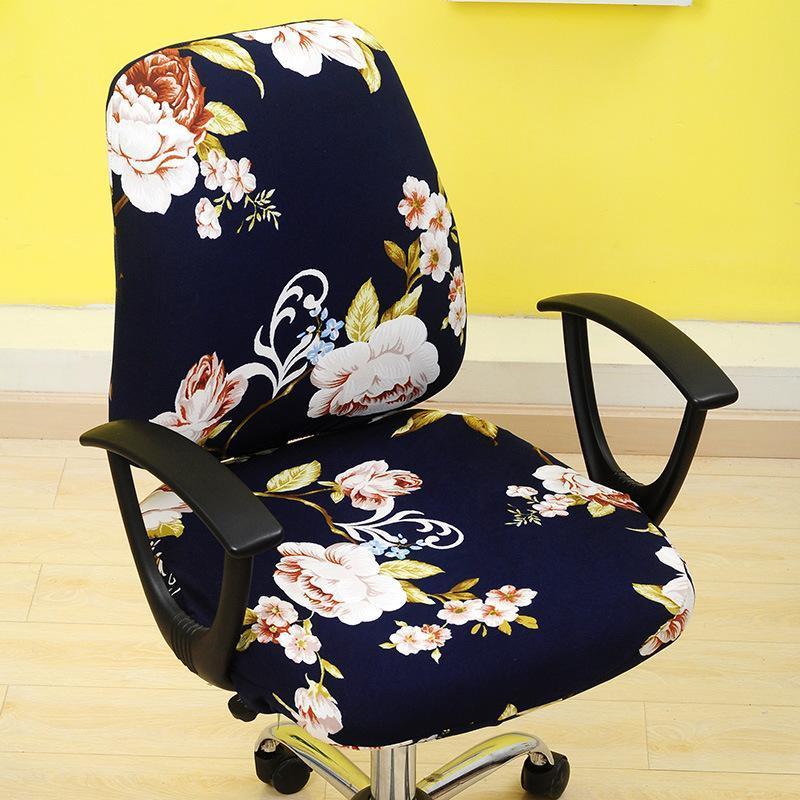 2pcs / set Printing Elastic Spandex Divisão Chair Voltar Seat Cover Anti-sujo assento computador removível Cadeira estiramento da tampa do caso