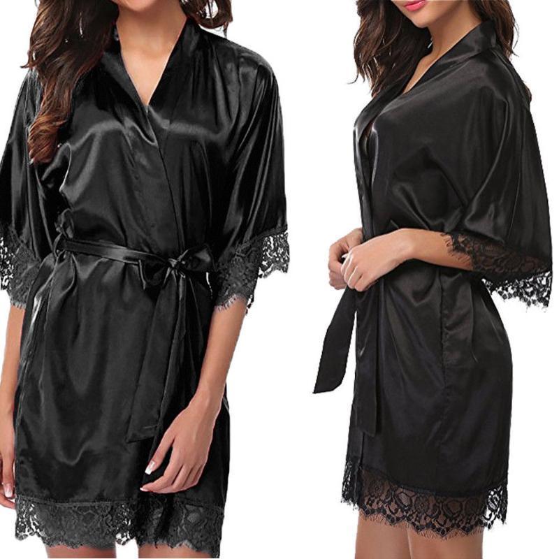 Mulheres Sexy Lace Nightgown Robe Lady Sleepwear Cetim Nightwear Lingerie Pijamas Terno Silk Kimono Robe Roupão Plus Size J60