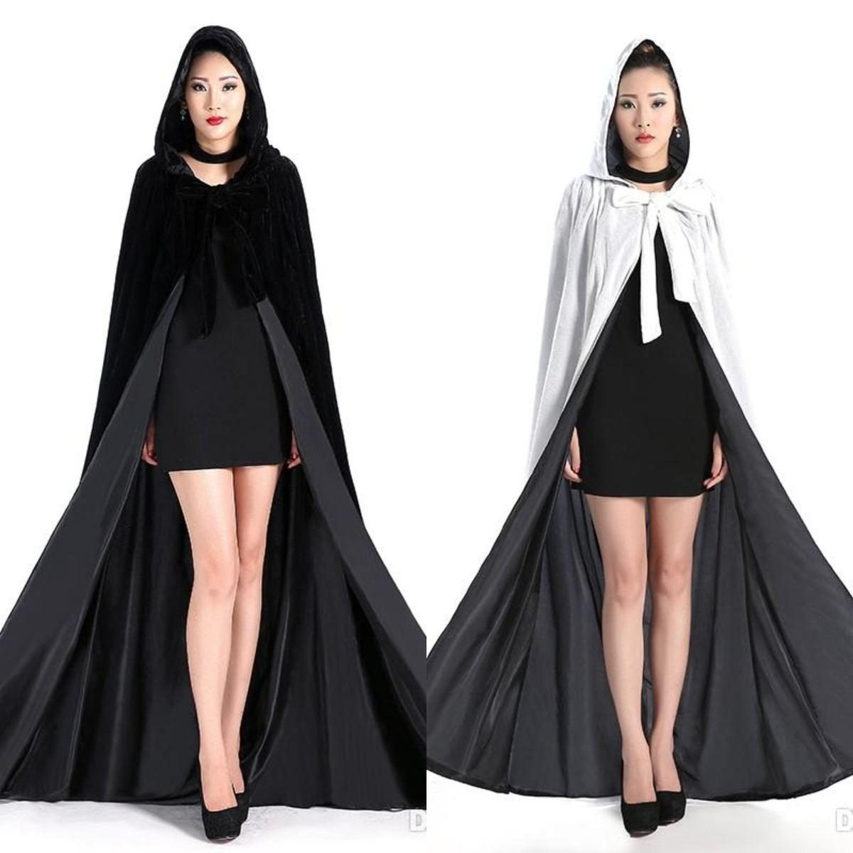 2021 Cheap Velvet Hooded Cloaks Winter Wedding Capes Wicca Robe Warm Christmas Long Bridal Wraps S-6XL