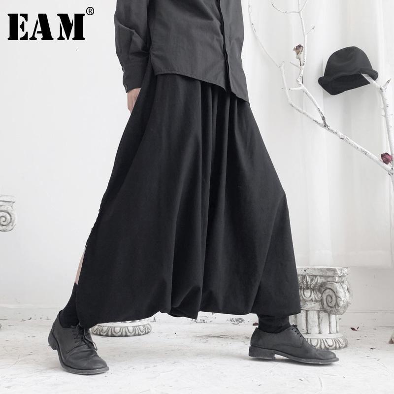 [EAM] Alta cintura elástica Negro Split Split Pantalón largo Pantalón largo Pantalón Nuevo Pantalones Fit Pantalones Mujeres Moda Primavera Otoño 2020 19a-A6881