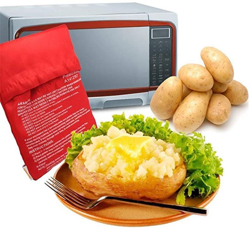 Microwave Potato Cooker Bag Fluffy Bread and Corn Potato Bag Reusable Washable Baked Potato Microwave Baking Bag
