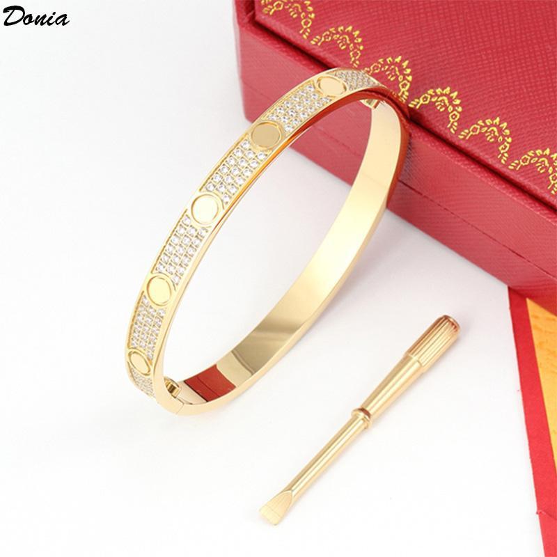 Cacciavite di gioielli DONIA Esagerato Zircone di lusso Zircone micro-intarsiato Zircone Europeo e American Bracciale in acciaio in acciaio in acciaio in titanio