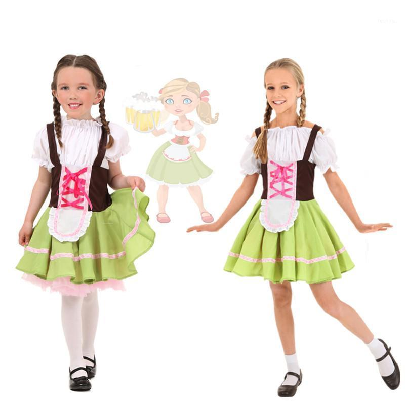 Çocuklar Kızlar Alman Bira Heidi Kıyafetler Bavyera Oktoberfest Bira Kız Kostüm Cadılar Bayramı Partisi Fantezi Elbise S-XL1