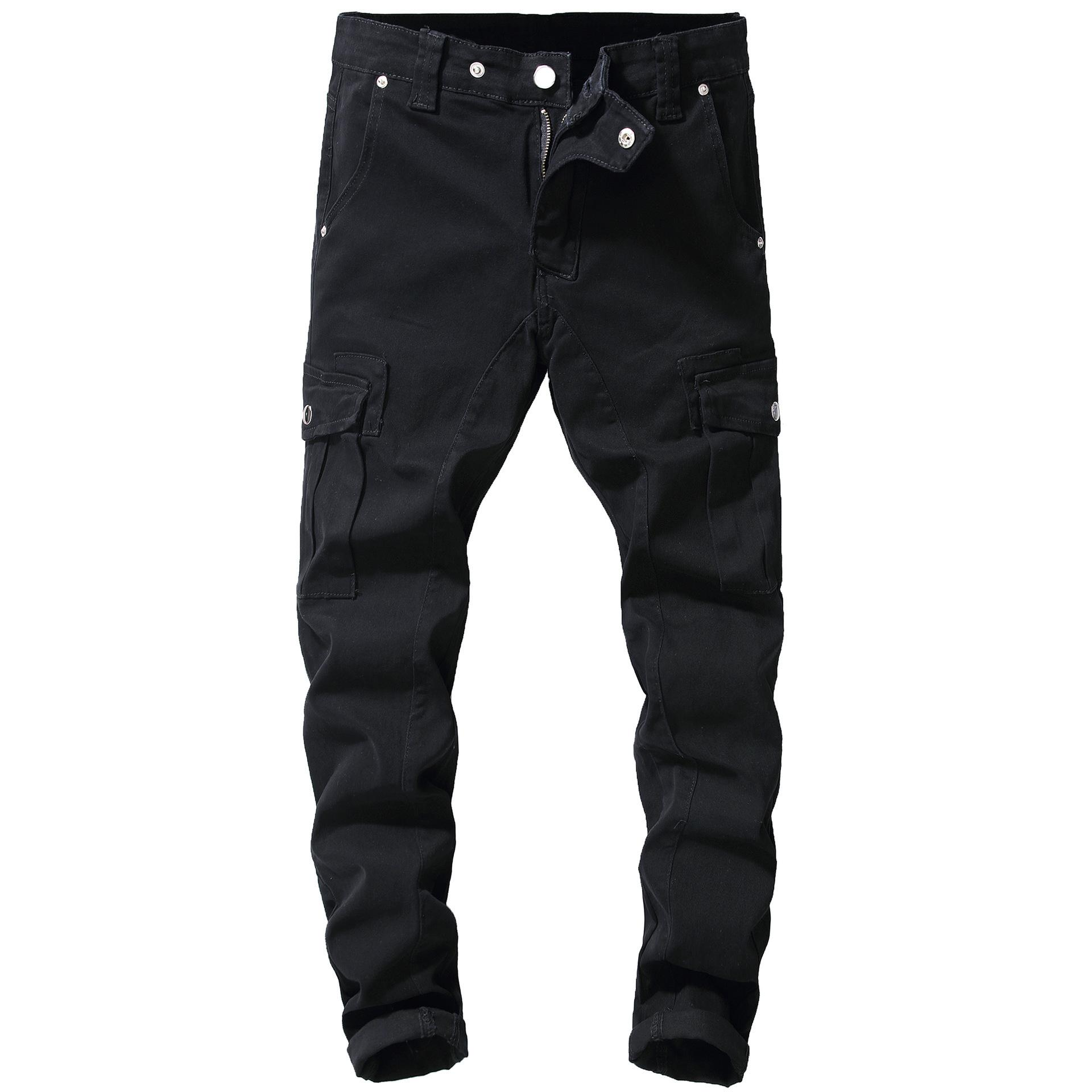 Black Herren Multi-Taschen Tooling Denim Streetwear Cargo Hosen Männer Jeans Mode Designer Hohe Qualität Hip Hop Männlich