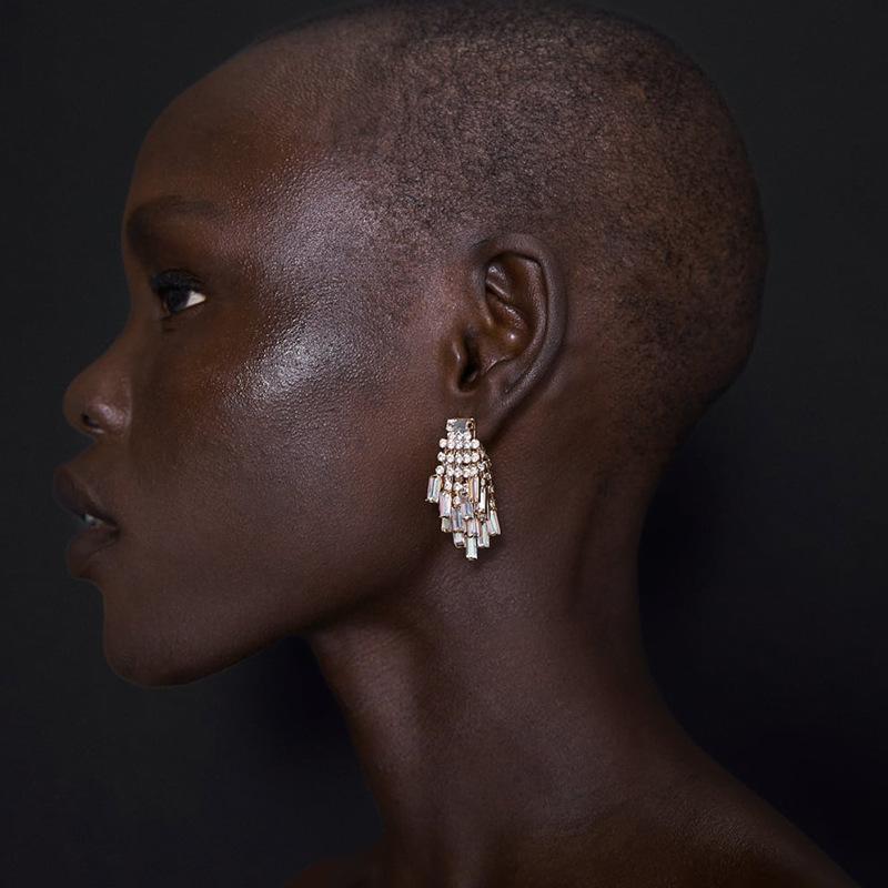 Große geometrische Strass Ohrringe baumeln für Frauen Fashion Statement Kristall Ohrringe 2020 Groß Bling Hochzeit Brautschmuck