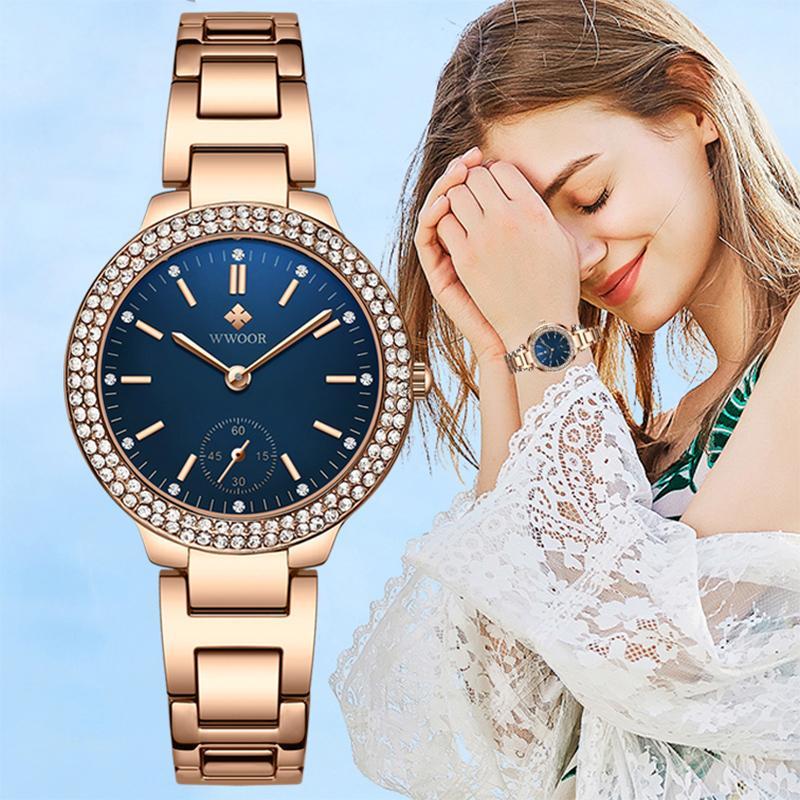 WWOOOR 2020 Top Luxury Diamond Watch Mulheres Moda Rose Gold Ladies relógio vestido de quartzo pulseira relógio para mulheres Relogio Feminino J1205