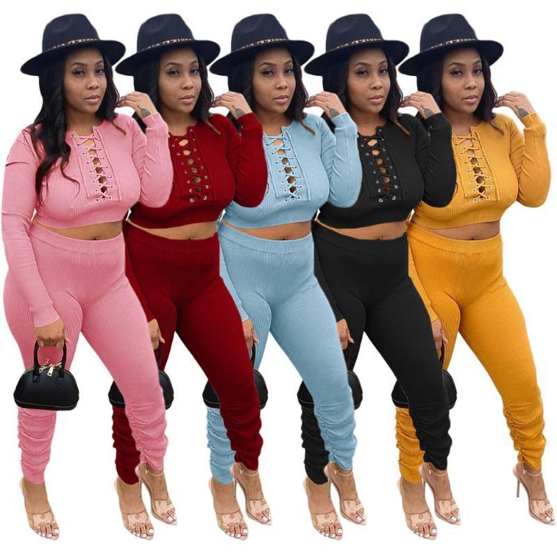 Xt136streetwear feminino conjunto de malha ribbed lace up colheita Calças Jogger Calças Definir Ativo Tracksuit Dois Peça Correspondência De Roupa de Fitness