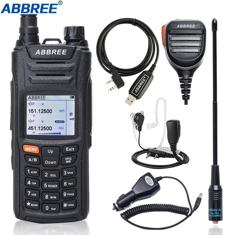Walkie Talkie Abbree AR-F6 휴대용 다중 밴드 다기능 VHF UHF DTMF 999CH VOX SOS 스캔 스톱워치 햄 CB 라디오
