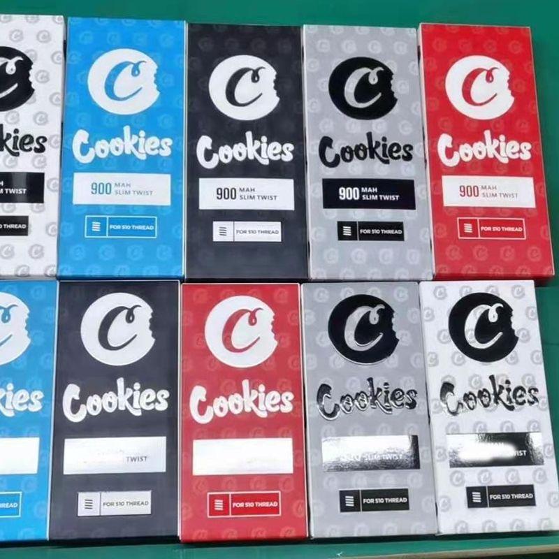 최신 쿠키 SF 슬림 트위스트 배터리 900mAh 하단 회 전자 3.3-4.8V 예열 VV 카트 vapes 펜 자아 510 스레드 vape 카트리지