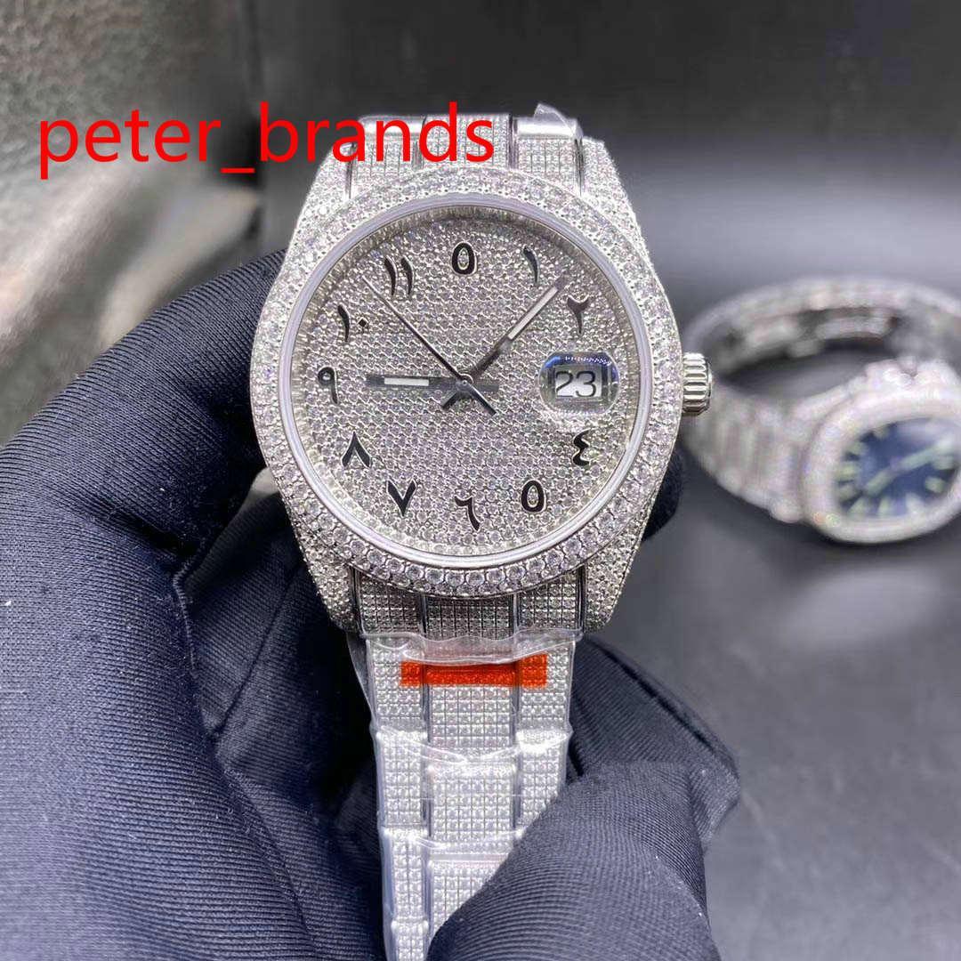 Diamond aço inoxidável 39mm caso brilhante números árabes discar automático liso liso mãos varrendo diamantes todos em fivela de alta qualidade