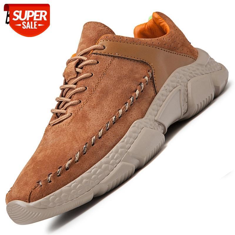 Chaussures décontractées pour hommes Cuir Véritable Hommes respirant Hommes Chaussures en daim Mocassins pour hommes en plein air Nus-Slip Hommes Sneakers Zapatillas Hombre # G42C