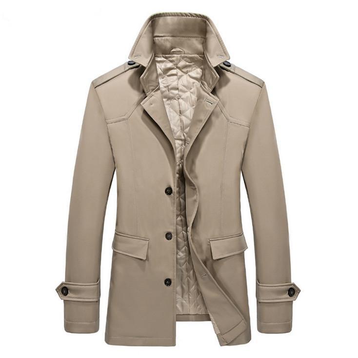 2020 Новый воротник с разворотом Требовое пальто Мужчины Осень Утолщенные стройные подходящие длинные пальто дизайнерские моды мужская ветровка хаки