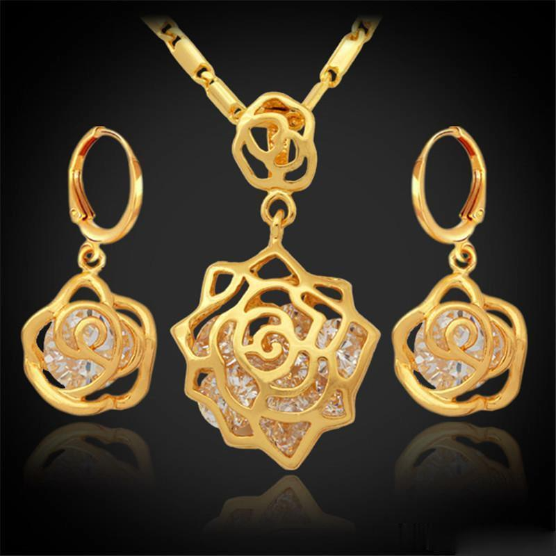 Vintage Infinity Elegant Rose Cubic Zirconia Earrings Pendant Set 18K Real Gold Plated Fashion Jewelry Sets For Women