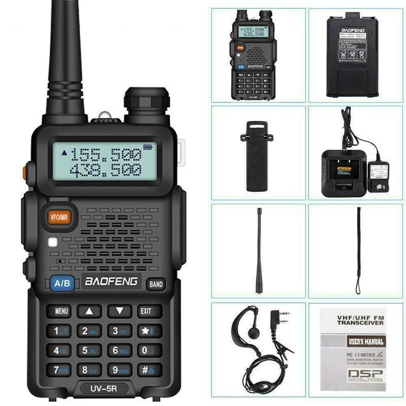 Walkie Talkie Baofeng UV-5R UV5R CB 라디오 방송국 8W 10km 128ch VHF UHF 듀얼 밴드 UV 5R 햄 라디오를 사냥을위한 두 가지 방법