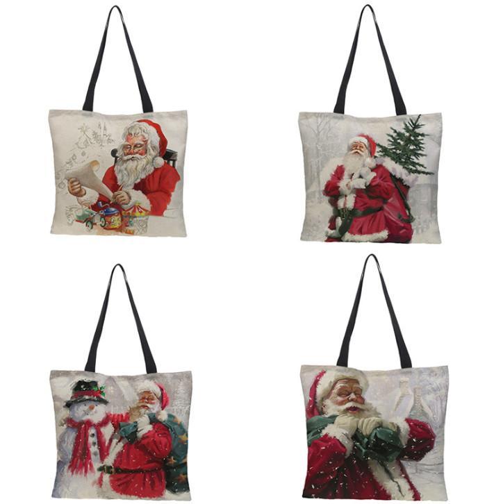 La dernière taille 43x43cm, sac cadeau de Noël, style de décoration de Santa Claus, sac à main de jute, livraison gratuite