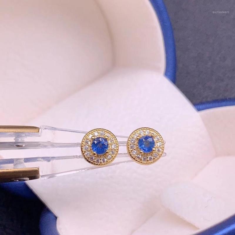 Pendientes naturales de zafiro azul para mujer Joyería 3 * 3mm Tamaño natural Gema natural Buen color azul 925 Ornamento de plata regalo de cumpleaños1