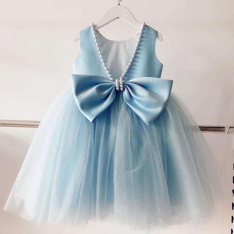 Bebek Vaftiz Mavi Elbiseler Için Bebek Kız Dantel Prenses Elbise 1st Yıl Doğum Günü Elbise Bebek Parti Kıyafeti Yenidoğan Giyim Giyim