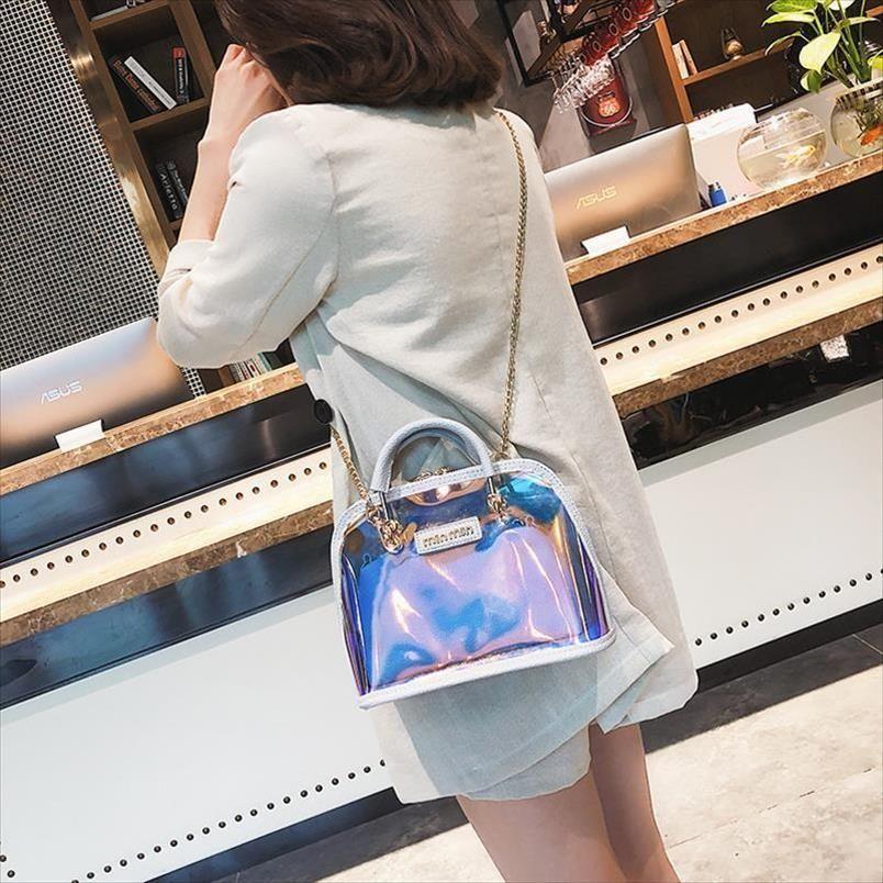 حقيبة شفافة حقيبة الكتف واضحة حقائب النساء واضح pvc جيلي قذيفة صغيرة حقيبة يد الليزر المجسم الكتف