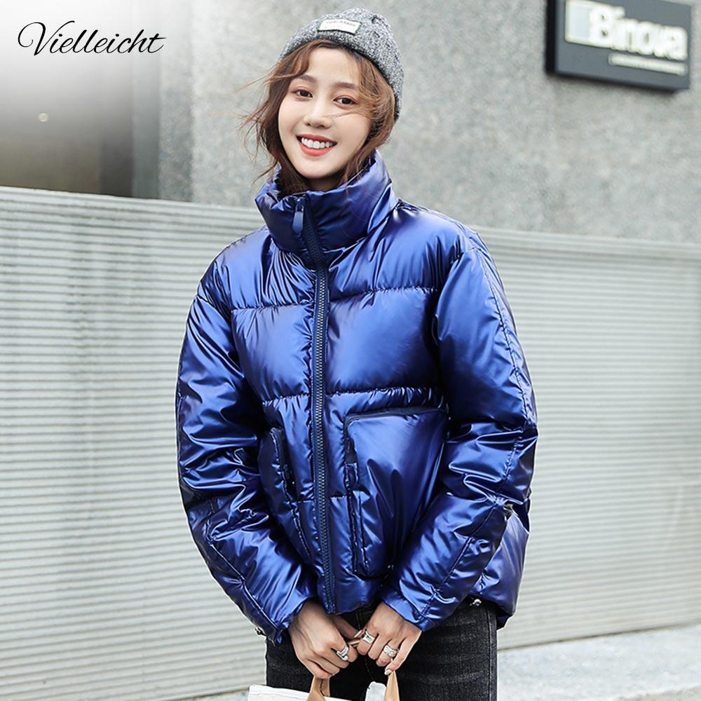 النساء الشتاء ستر سترات معطف جديد لامع دافئ شيني معطف جيوب قصيرة القطن مبطن الشتاء سترة المرأة