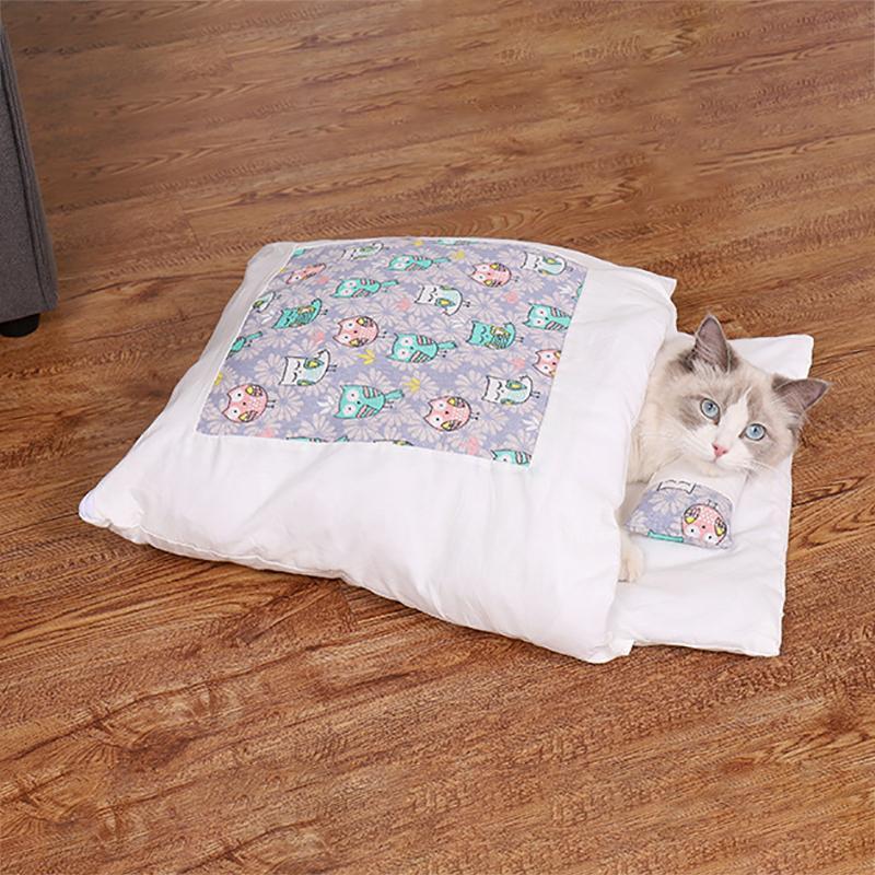Çıkarılabilir Köpek Kedi Yatak Kedi Uyku Tulumu Kanepeler Mat Kış Sıcak Kedi Ev Küçük Pet Yatak Yavru Köpek Kulübesi Yuva Yastık Pet Ürünler