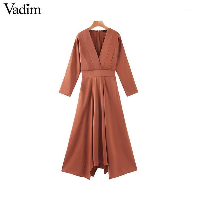 Vadim women fashion solid maxi dress V neck elastic waist long sleeve back zipper elegant female chic long dresses QC7911