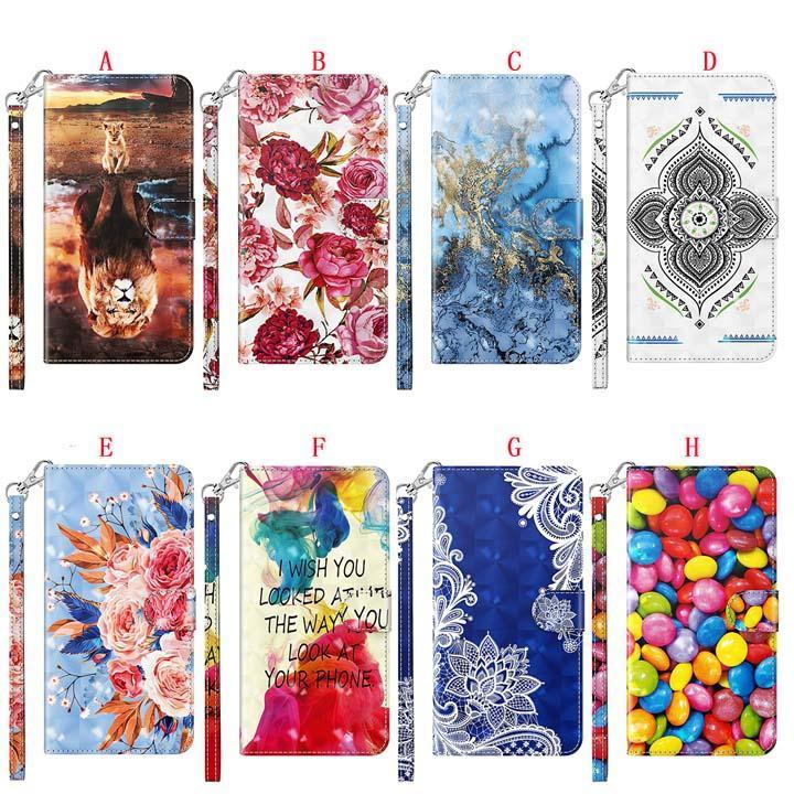 Étui en cuir de portefeuille 3D Bling pour Samsung A12 A32 S21 ULTRA A42 5G S20 FE M51 A01 CORE M31S F41 Fleur de bande dessinée Marble Stand Cover