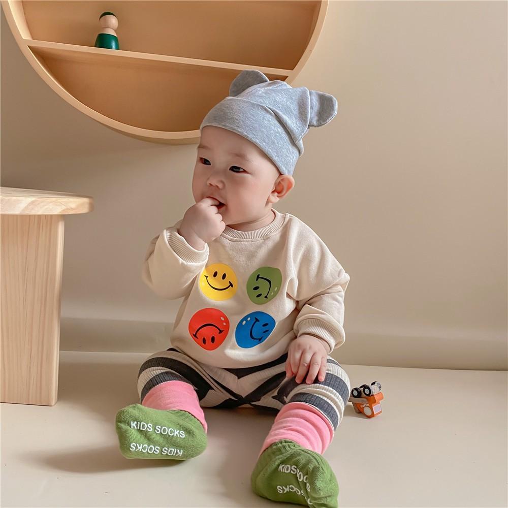 3903 Kinder Cartoon Sweatshirt Baby vier lächelnde Gesicht Pullover Langarm Cartoon Jungen Mädchen Casual Top Twins Baby Kleidung