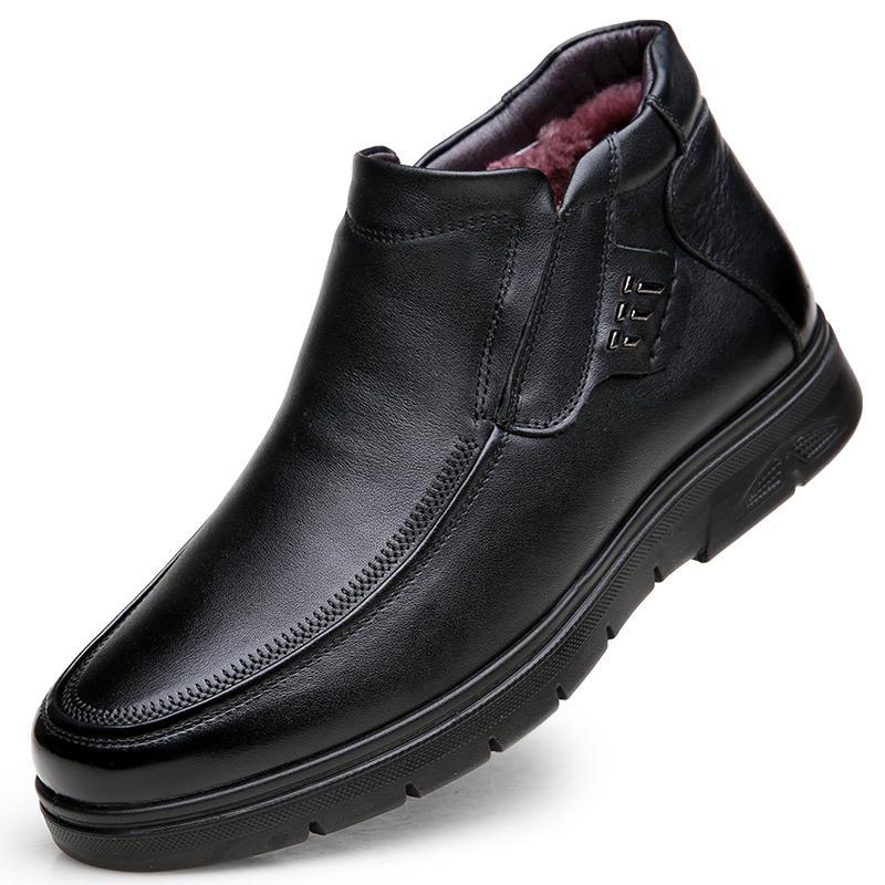Chaud Sale-British Mode Hommes Chaud Bottes en Peluche Cuir Coton Coton Chaussures Hiver Chaussures Slip-On Snow Boot Sapato Bota Hombre