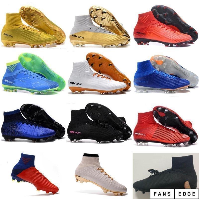 كرة القدم بالجملة أحذية للرجال s mercurial superfly fg cr7 جورب الأحذية كرة القدم المرأة الرجال عالية قمم رونالدو الكاحل داخلي كرة القدم المرابط