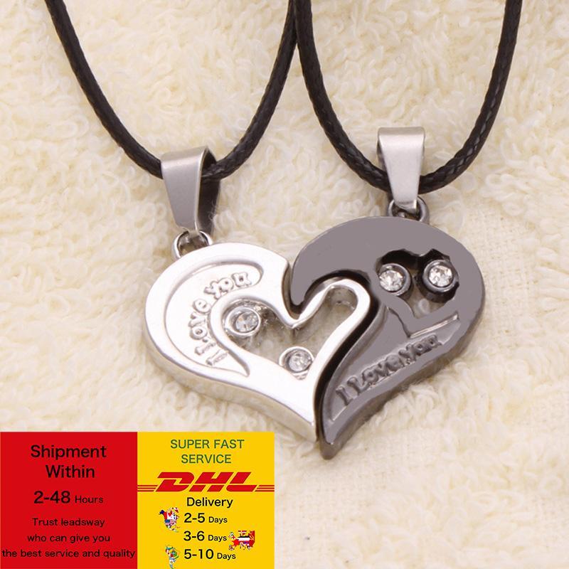 1 Paar Mode Paar Herzform Ich liebe dich Anhänger Halskette Unisex Liebhaber Paare Schmuck Mode Geschenk Zubehör DHL Free Fracht
