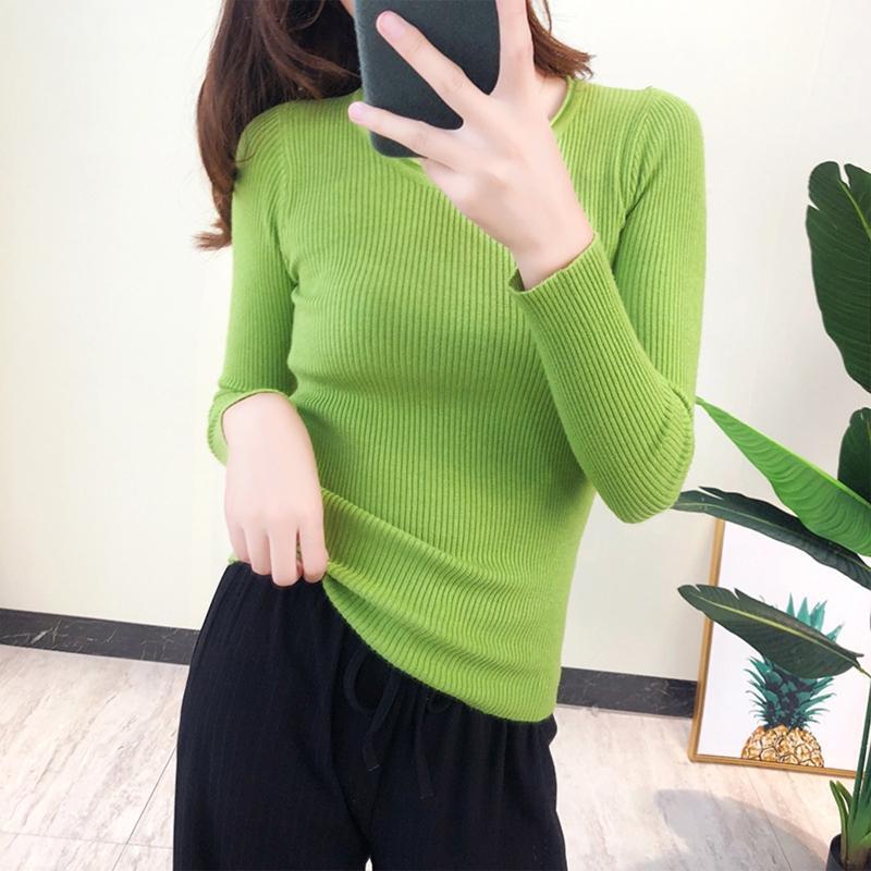 Корейский стиль женщины с длинным рукавом свитер круглые шеи простые сплошные цветные топы ребристые трикотажные тонкие подходят осенью