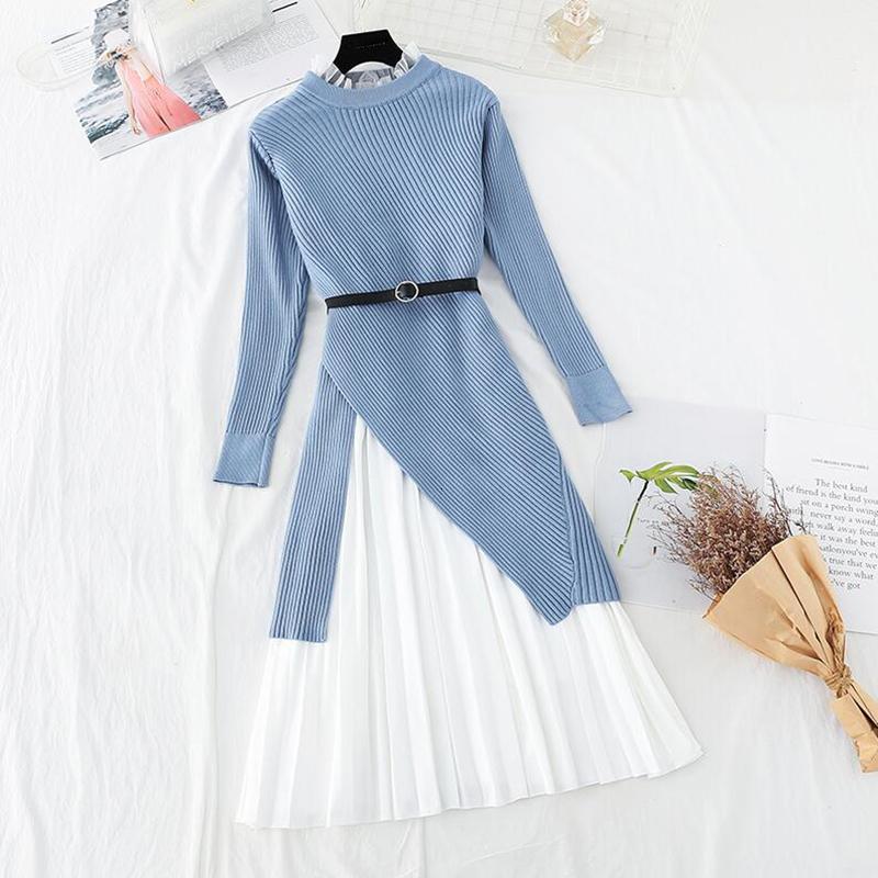 2021 Новое Высокое Качество Две женские одежды вязаные или вязаные ночной рубашки Осенняя длинная рубашка рукав + лотос листьев воротник жилет платье костюм ZDVI