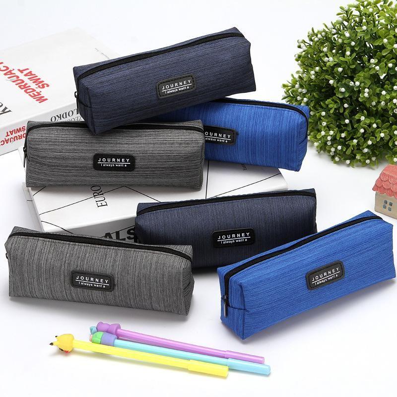 Sacs à crayons 1pc Sac Sac Sac Sac Oxfordcloth Coque Boîte à crayons Gris Blue Boy Schoee School Fournitures