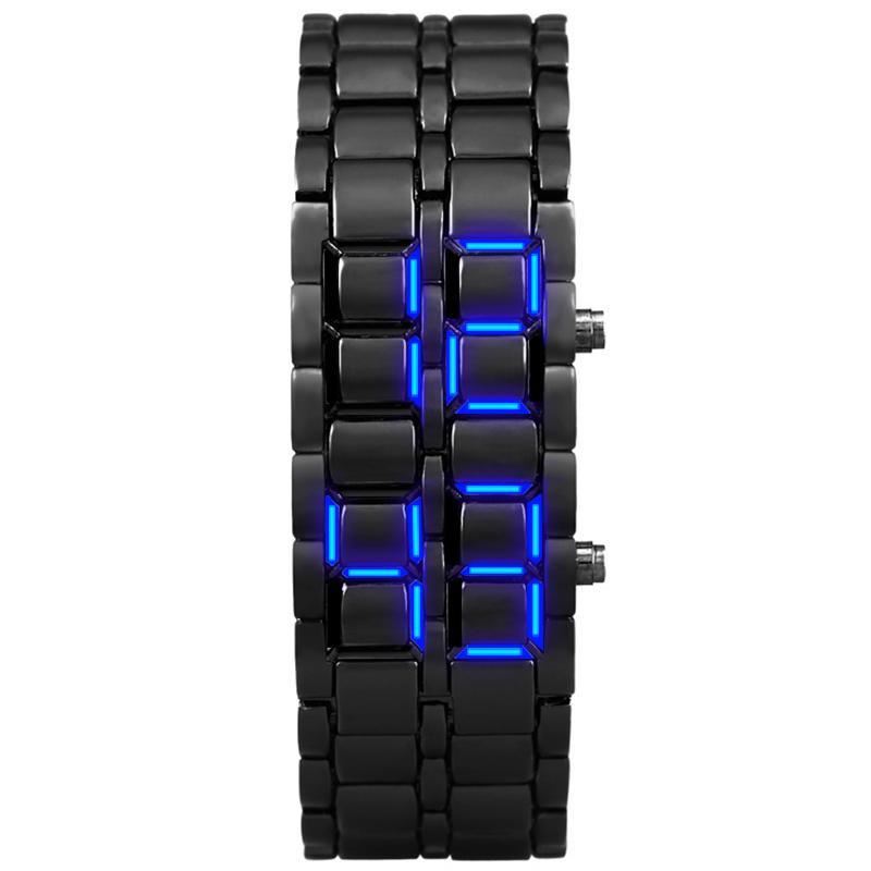 Women Fashion Bracelet Watches Black Stainless Steel Waterproof Digital LED Wristwatches Dress Electronic Watch For Women Clock J1205