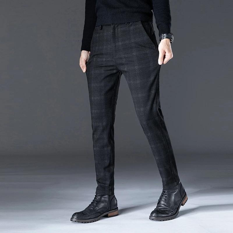 İlkbahar Sonbahar Rahat Pantolon Erkekler Pamuk Düz Fit Chinos Moda Dantel-Up Elastik Bel Siyah Pantolon Erkek Marka Giyim, 628