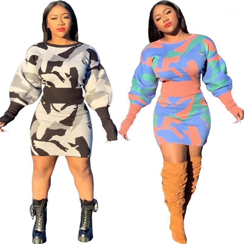 Kleid damen kleidung vestidos frauen s kleidung 2 stück set mode getäfelte camouflage drucken casual 2 stücke